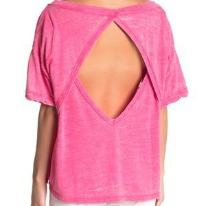NWT Free People Viola Hot Pink Open Back Tee